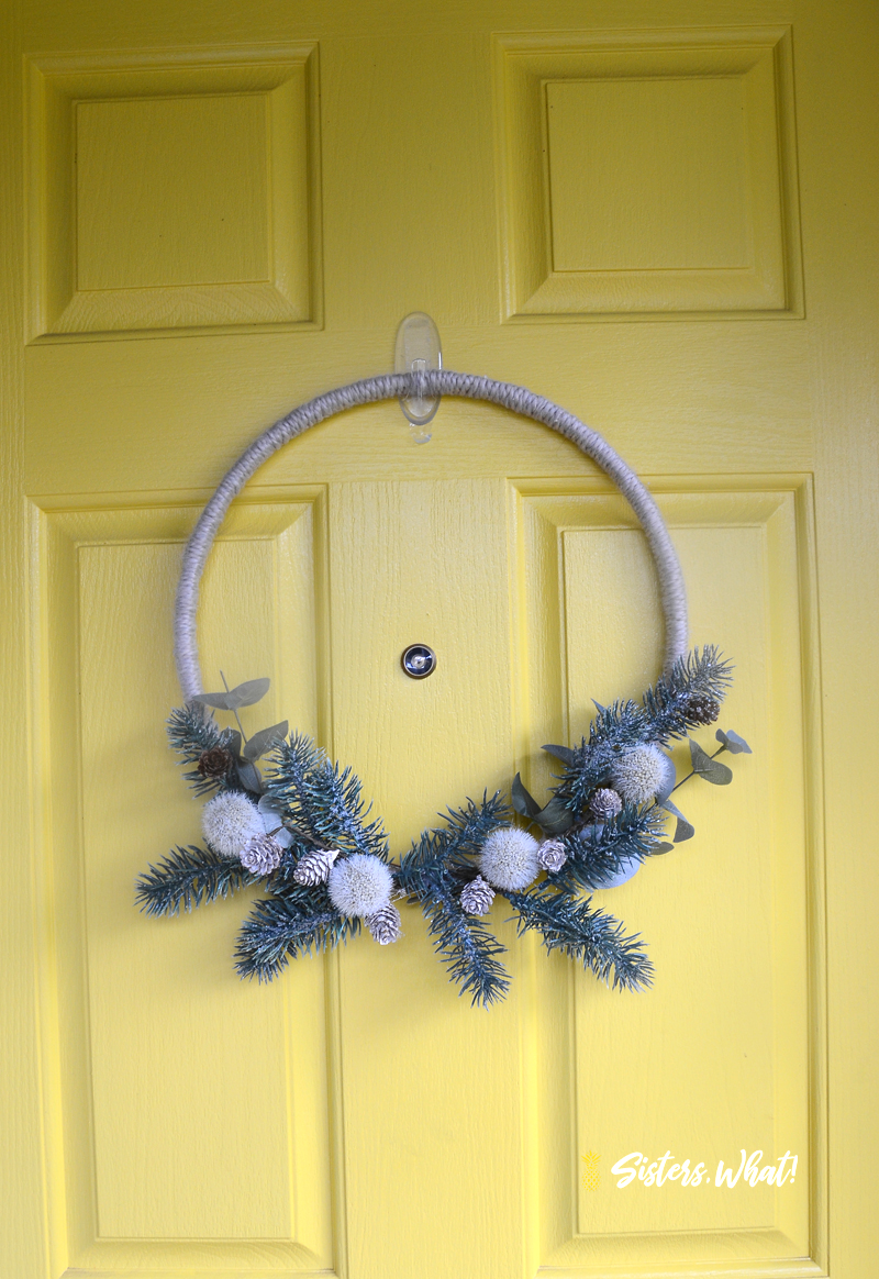 DIY modern Christmas wreath with fake pine, berries, eucalyptus