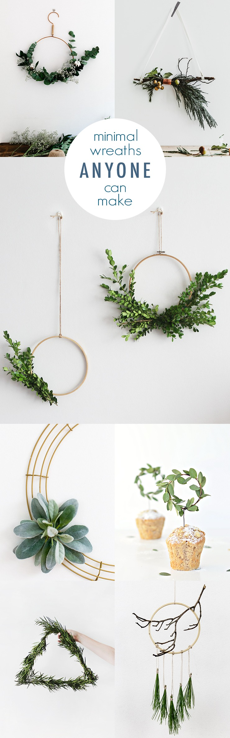 DIY minimalist Christmas wreaths with evergreens and berries (via idlehandsawake.com)