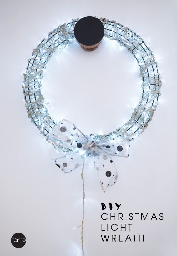 DIY easy and modern Christmas wreath of lights