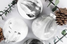 DIY monochromatic faux marble Christmas ornaments