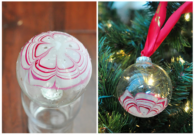 DIY marble candy cane Christmas ornaments
