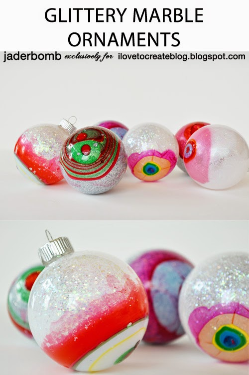 DIY colorful and glitter marble Christmas ornaments (via ilovetocreateblog.blogspot.com)