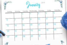 DIY free-printable 2019 calendar
