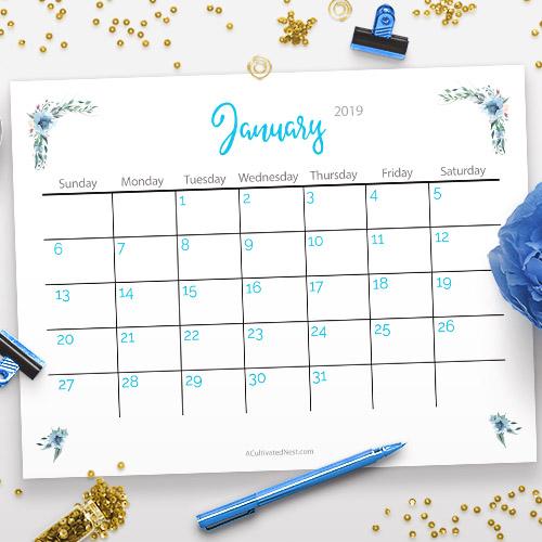 DIY free-printable 2019 calendar  (via acultivatednest.com)