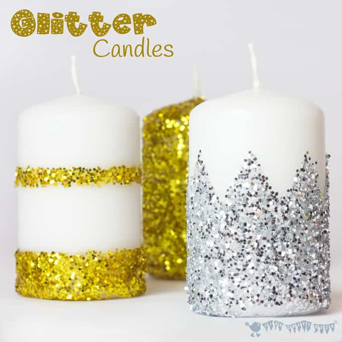 DIY colorful glitter candles for New Year's party decor (via kidscraftroom.com)