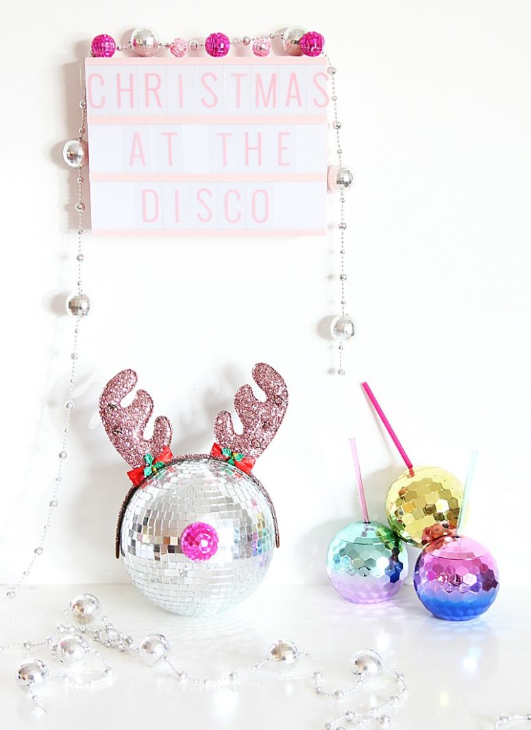 DIY disco ball Rudolph decoration for New Year's parties (via abubblylife.com)