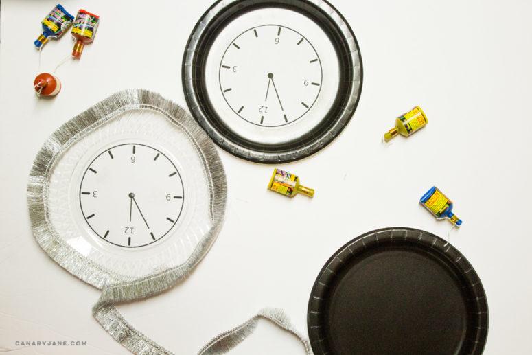 DIY New Year clock plates for parties (via canaryjane.com)