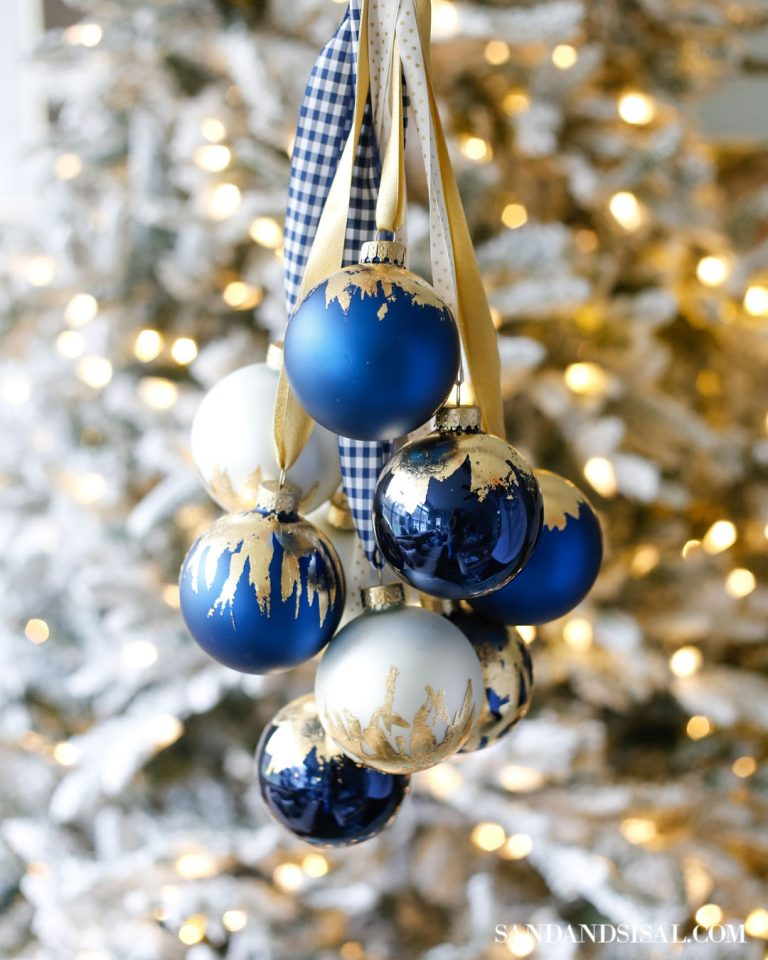 chic DIY gold leaf top Christmas ornaments (via www.sandandsisal.com)