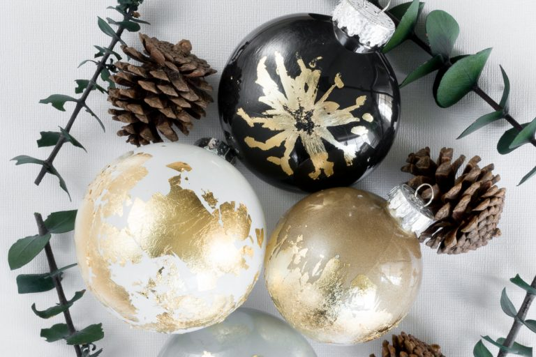 DIYmonochromatic Christmas ornaments with gold leaf (via www.bybrittanygoldwyn.com)