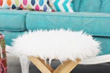 02 DIY faux fur stool from an IKEA plant stand and faux fur is a pretty and cute idea for winter