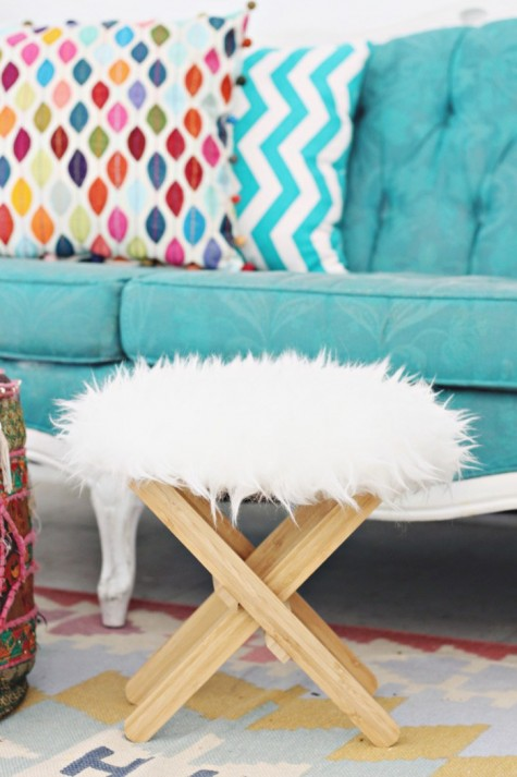 DIY faux fur stool from an IKEA plant stand and faux fur is a pretty and cute idea for winter