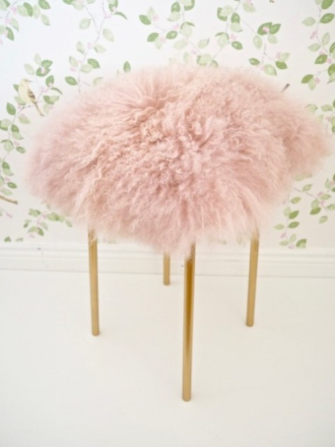 DIY IKEA Marius stool into a fluffy pink one with brass legs adds glam to the space