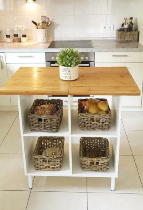 IKEA Kallax kitchen island with open storage and baskets for more comfort is a cool DIY