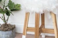 04 DIY IKEA Skogsta stool with dipped legs and a faux fur top for a cute look