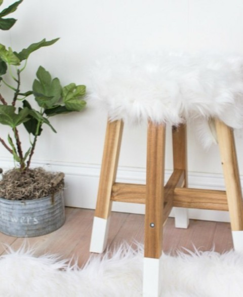 DIY IKEA Skogsta stool with dipped legs and a faux fur top for a cute look