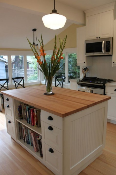 IKEA Expedit renovated into a chic farmhouse kitchen island is a great idea for a modern rustic kitchen