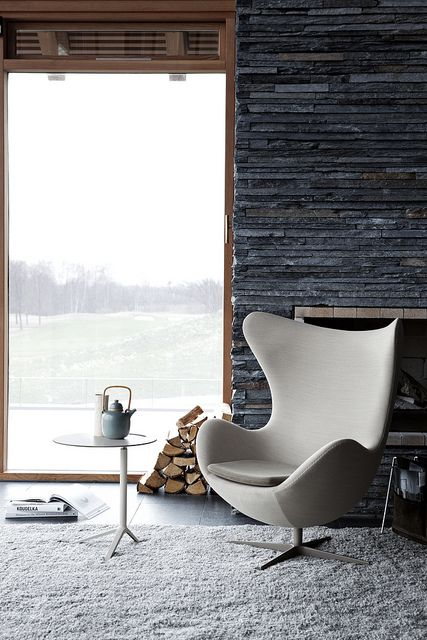 a classic Egg chairs with curvy wingbacks is a gorgeous and veyr cozy piece
