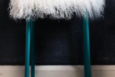 07 IKEA Marius stool painted teal and topped with some faux lambwool is a great piece for your home