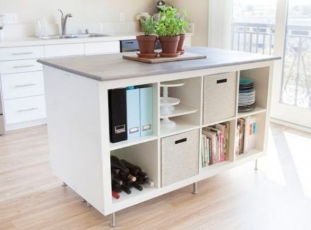 an Expedit bookcase turned into a kitchen island with much storage