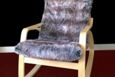 09 take your POANG chair and cover the cushions with faux fur of any shade – it's gonna be your favorite piece