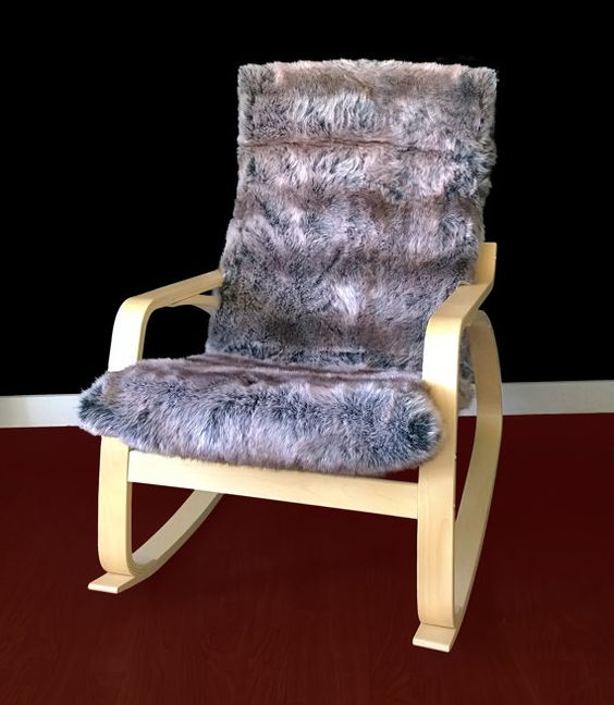 take your POANG chair and cover the cushions with faux fur of any shade - it's gonna be your favorite piece