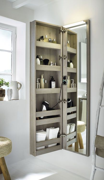 a comfortable storage piece with a mirror door is a popular option for bathrooms