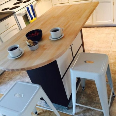 a stylish modern kitchen island using Expedit, Capita legs and a Hammarp counter top piece looks wow