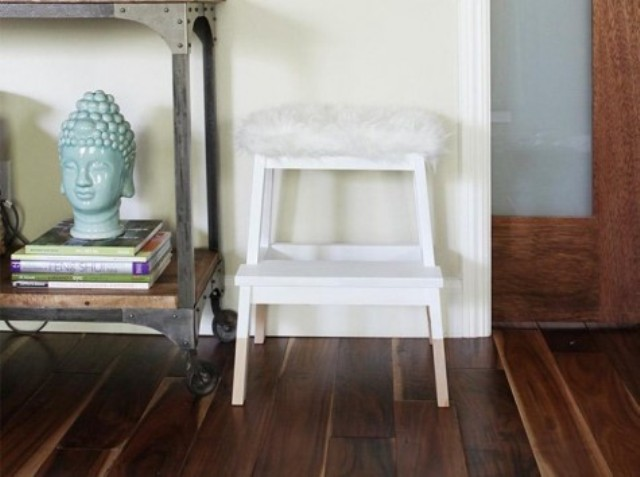 IKEA Bekvam step stool with faux sheepskin from IKEA is a stylish modern option for your home