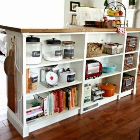 a Billy bookcase by IKEA into a double-duty kitchen island - for cooking and for storage