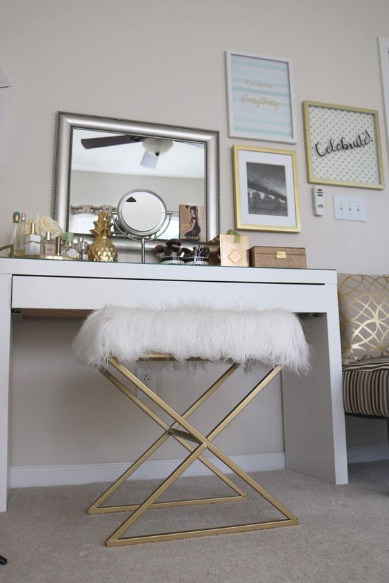a glam brass geometric stool with a faux fur seat from IKEA