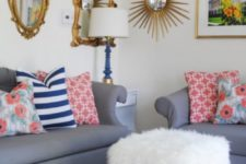 15 DIY cube ottoman covered with faux fur bought in IKEA is a pretty and glam idea