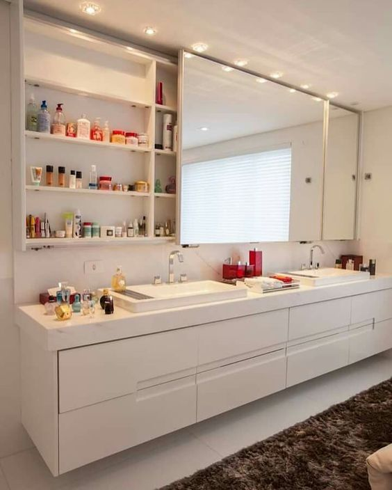 hide all your stuff inside the mirror unit - prefer a sliding one to save some space