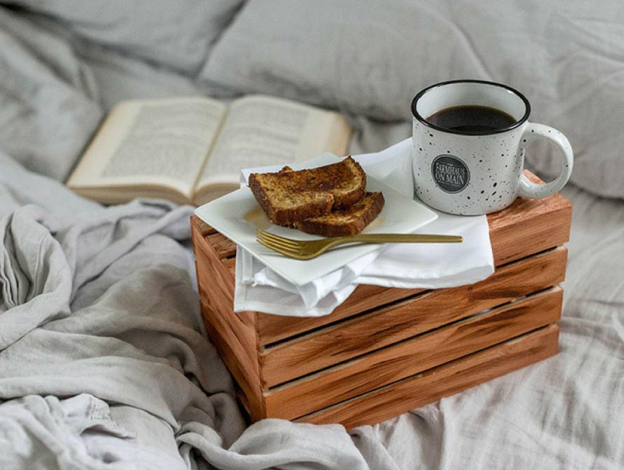 DIY stained antique wooden crate as a breakfast tray