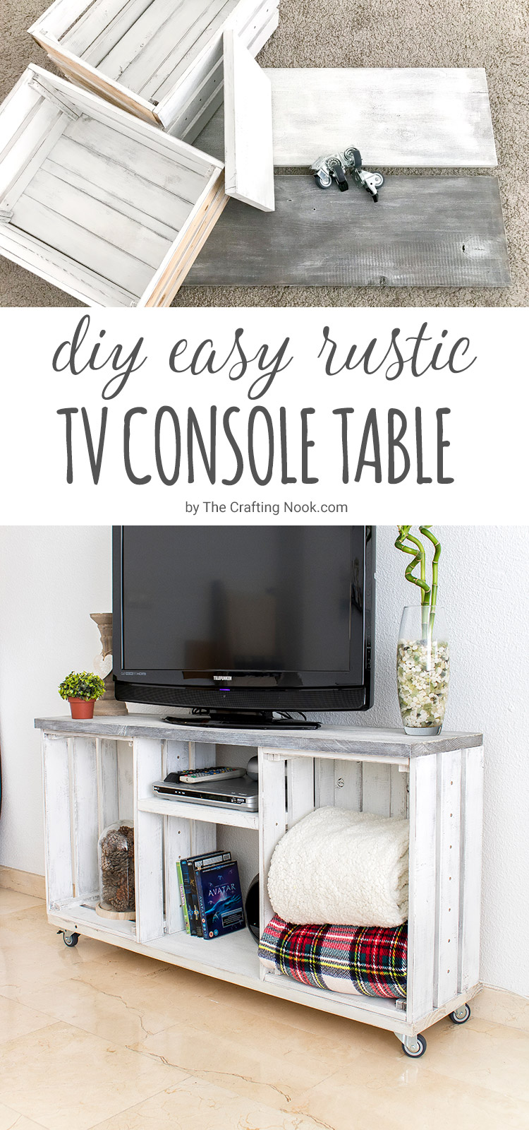 DIY rustic TV console table of crates (via thecraftingnook.com)