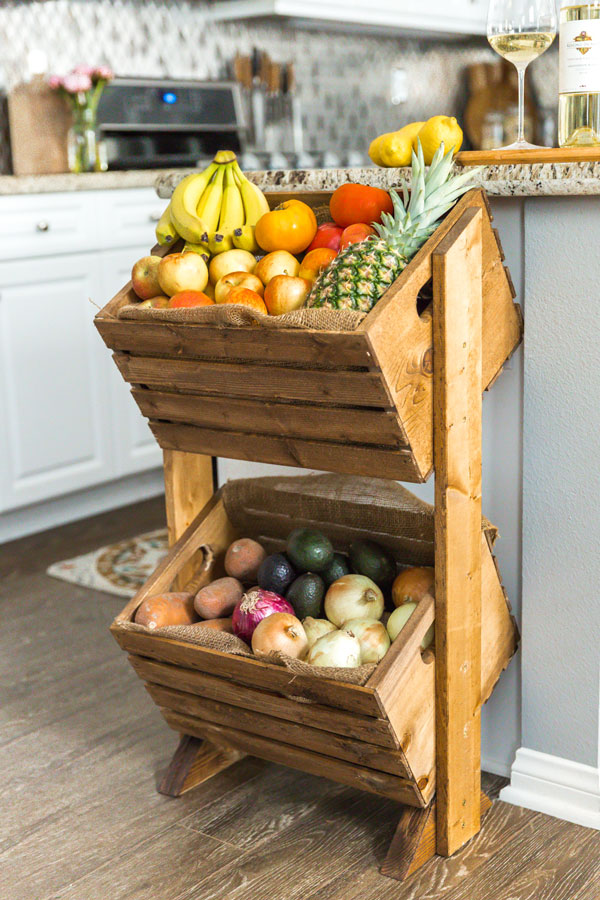 DIY two-tiered wooden crate produce stand (via www.kj.com)