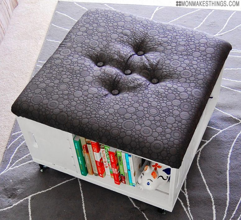 DIY storage ottoman with an upholstered top (via www.monmakesthings.com)