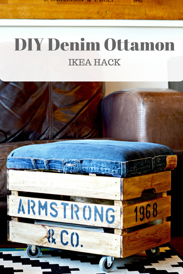 DIY ottoman of a wodoen crate and some old denim (via www.pillarboxblue.com)