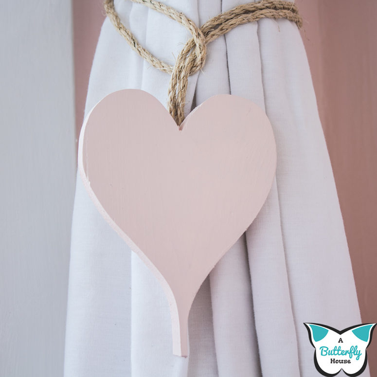 DIY blush heart curtain ties for Valentine's Day (via abutterflyhouse.com)