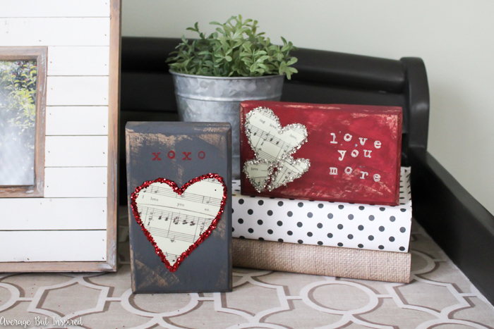DIY colorful scrap wood Valentines or Valentine decor (via averageinspired.com)