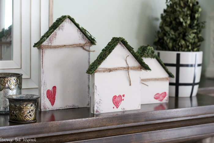 DIY scrap wood nesting houses with hearts for Valentine's Day decor (via averageinspired.com)