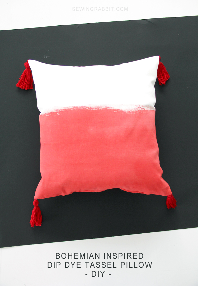 DIY gradient red pillow with tassels