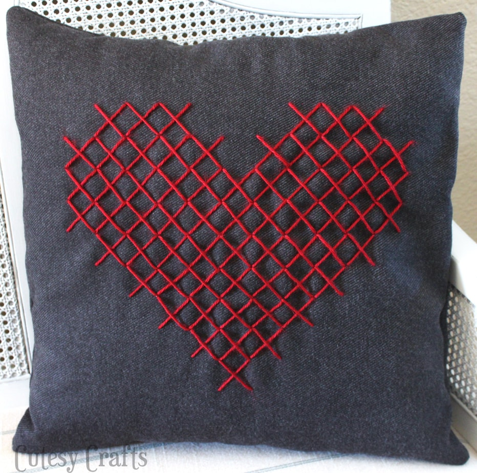 DIY cross stitch heart pillow for Valentine's Day