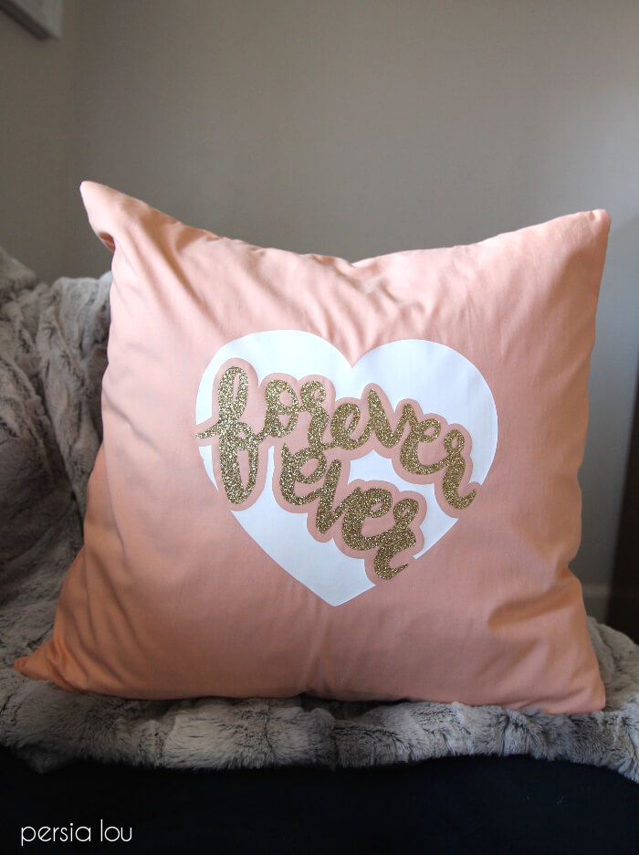 DIY pink glitter FORVER EVER pillow (via persialou.com)
