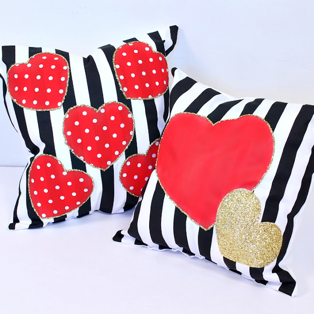DIY Valentine's Day pillows with red and gold hearts (via www.markmontano.com)