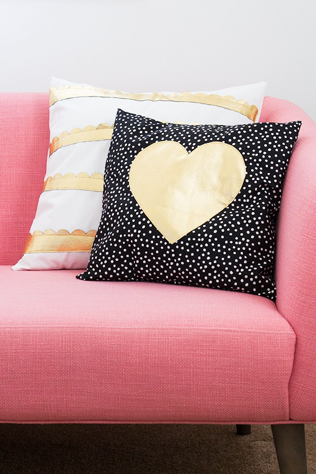 DIY polka dot gold heart pillow (via sarahhearts.com)