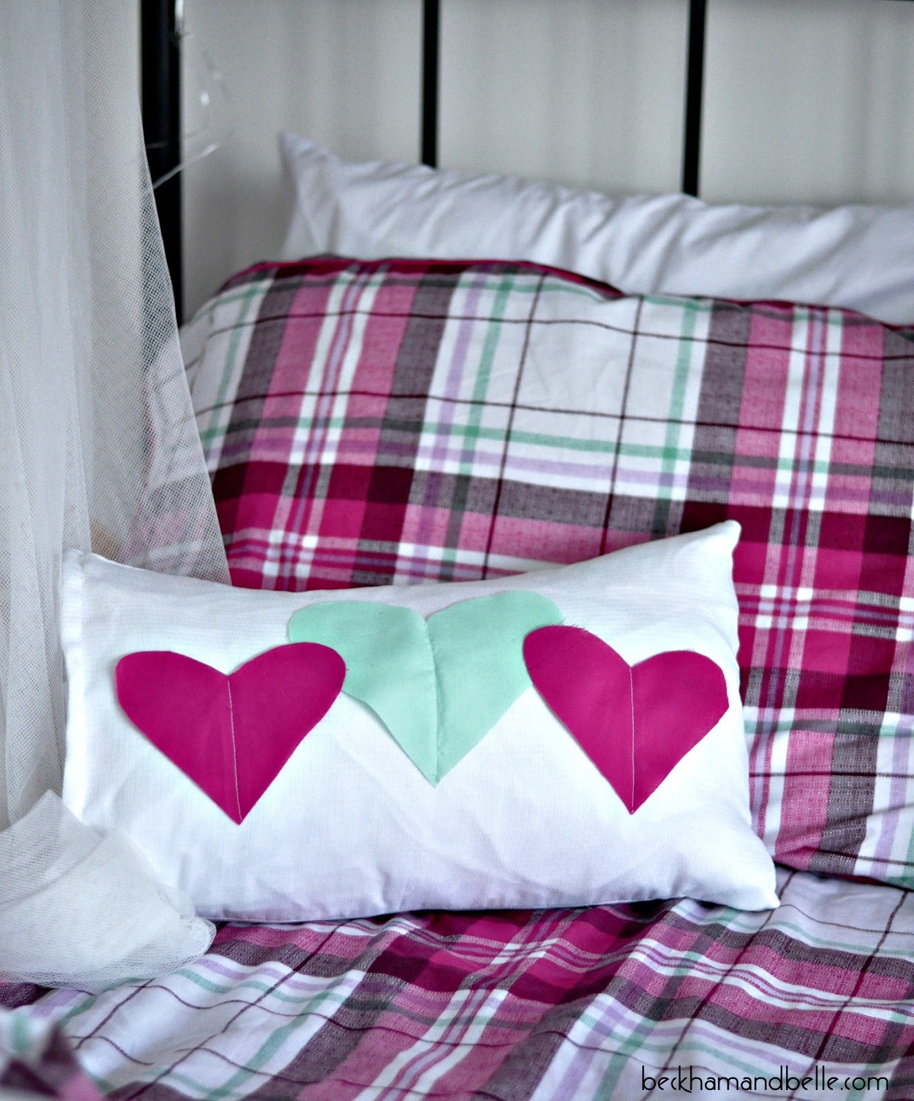 DIY colorful heart applique pillow