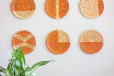 DIY painted rattan basket wall art