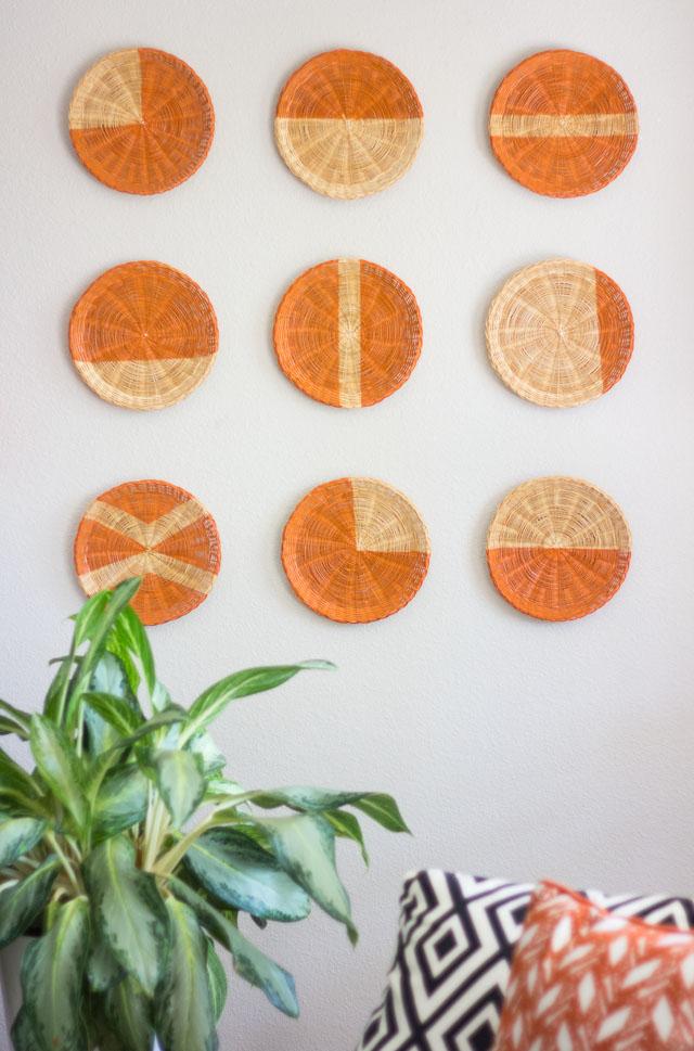 DIY painted rattan basket wall art (via www.designimprovised.com)