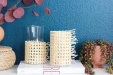 DIY modern rattan candle holders