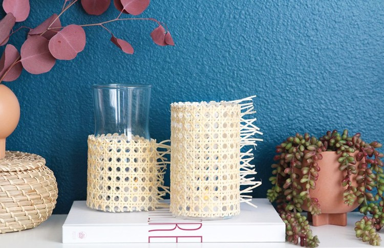 DIY modern rattan candle holders